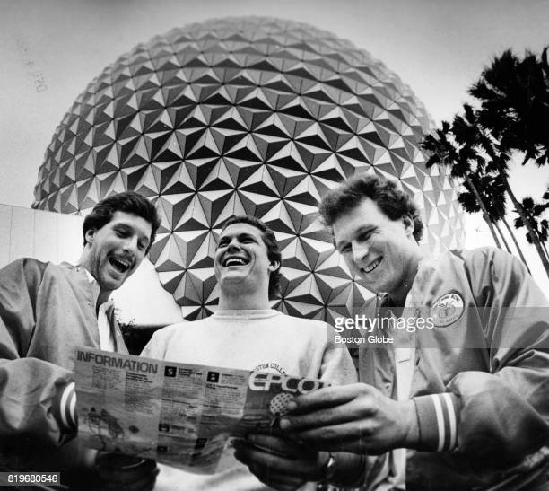 Standing in front of the 'Spaceship Earth' globe at the EPCOT Center at Walt Disney World Boston College players form left Jim Brown Scott Nizolek...