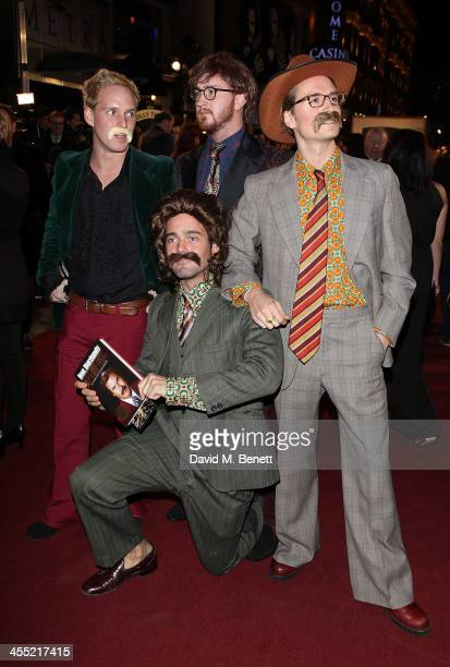 Standing Jamie Laing Francis Boulle and Ollie Proudlock Spencer Matthews attend the UK premiere of 'Anchorman 2 The Legend Continues' at the Vue West...