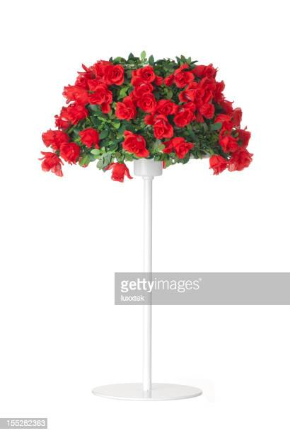 Standing lamp with red roses lampshade