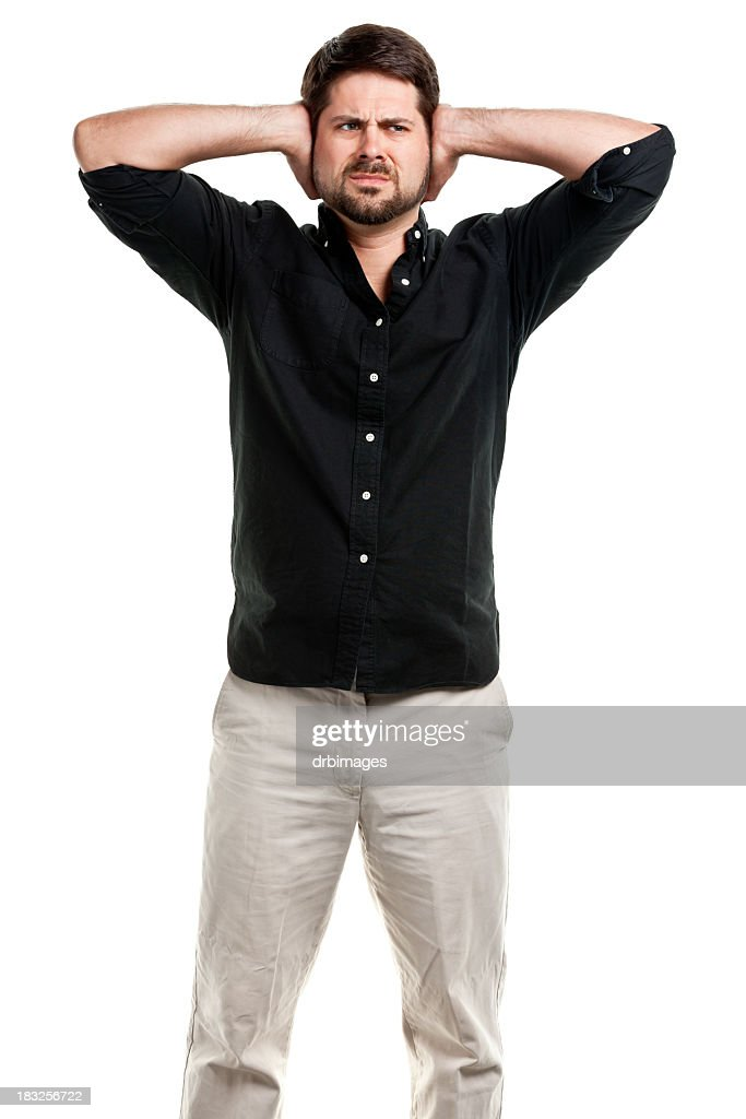 Standing Man Covering Ears