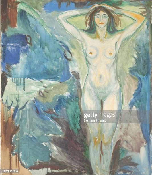 Standing Nude Against Blue Blackground 19251930 Found in the collection of Munch Museum Oslo