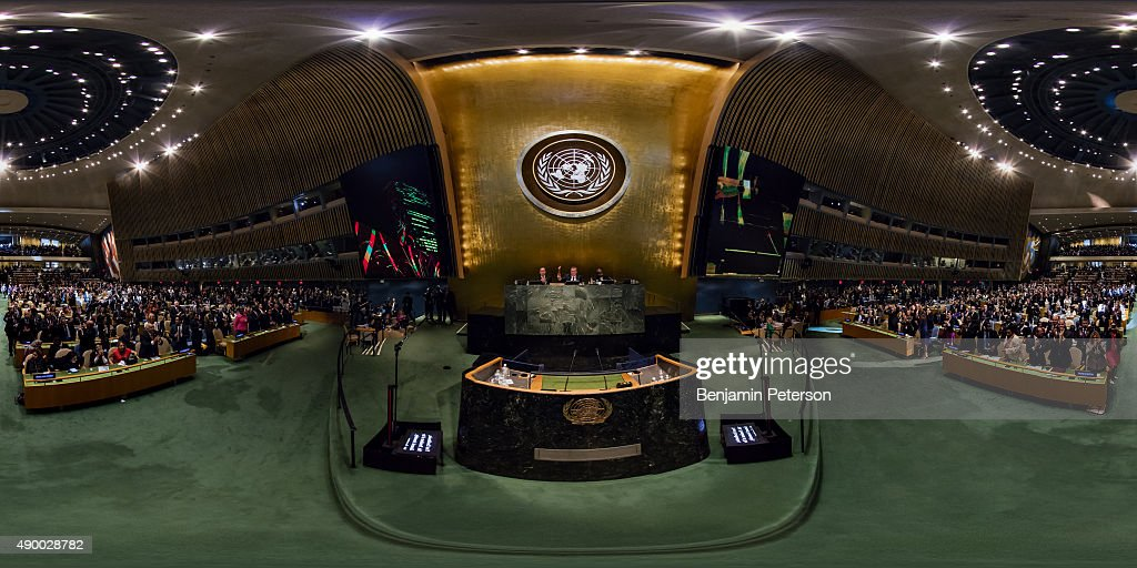 A standing ovation takes place during the gavel opening of the General Assembly and UN Sustainable Development Summit at the United Nations on...
