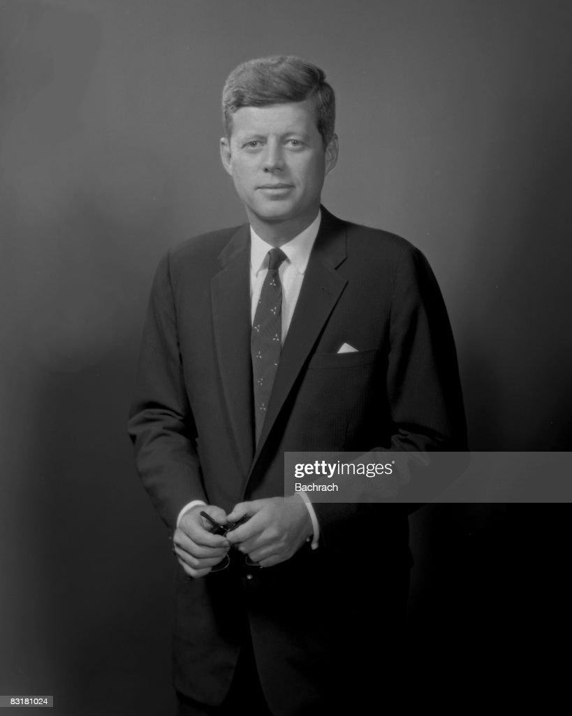 Standing portrait of John Fitzgerald 'Jack' Kennedy (1917 - 1963). Taken in Boston while he served as Massachussetts senator, 1958.