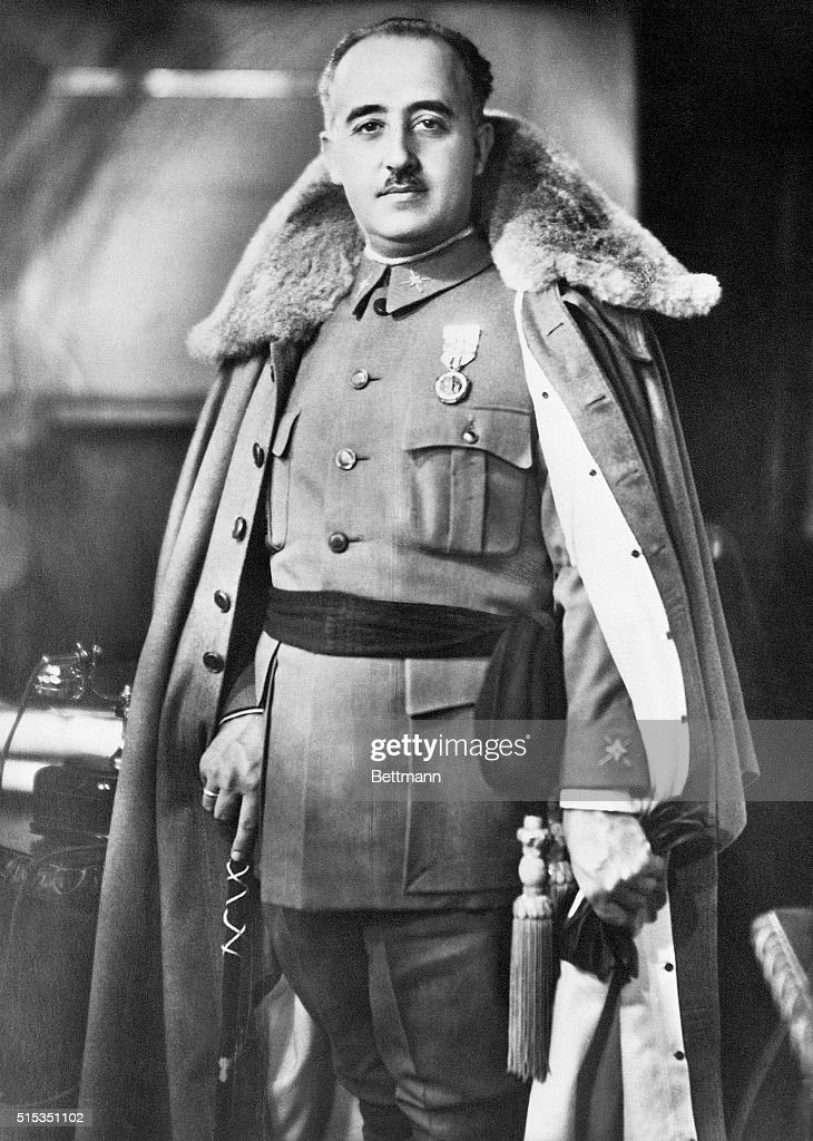 Standing portrait of Spanish general and dictator <a gi-track='captionPersonalityLinkClicked' href=/galleries/search?phrase=Francisco+Franco&family=editorial&specificpeople=190209 ng-click='$event.stopPropagation()'>Francisco Franco</a> in uniform.