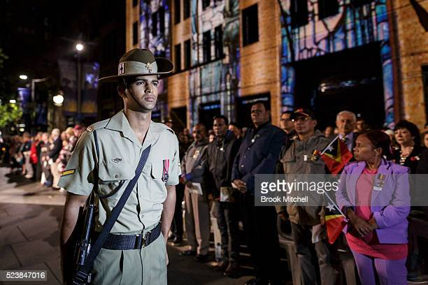 Standing sentry at the ANZAC day dawn service on April 25 2016 in Sydney Australia Australians commemorating 101 years since the Australian and New...