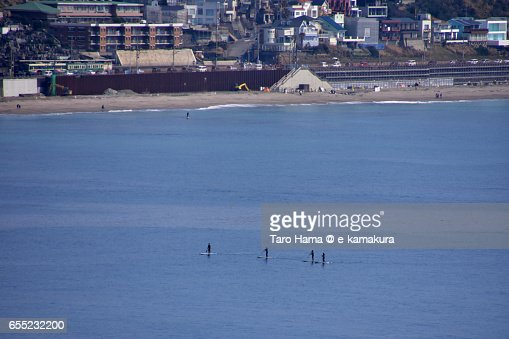 Standing up paddle boarding on the beach : ストックフォト