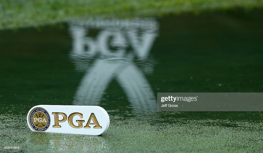 Standing water is seen on the first tee during the final round of the 96th PGA Championship at Valhalla Golf Club on August 10 2014 in Louisville...