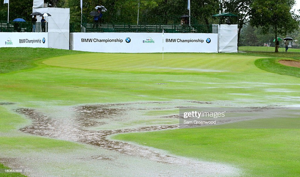 Standing water is seen on the ninth hole as play is suspended due to inclement weather during the Final Round of the BMW Championship at Conway Farms Golf Club on September 15, 2013 in Lake Forest, Illinois.
