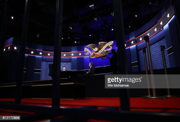 Standins for Republican vice presidential candidate Mike Pence and Democratic vice presidential candidate Tim Kaine rehearse on the set for the vice...
