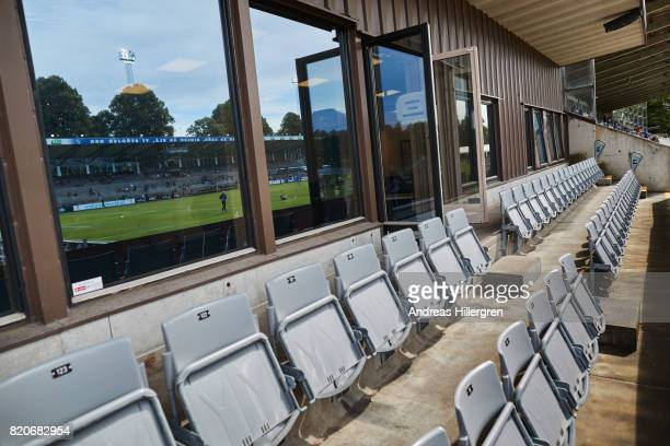 Stands seats during the Allsvenskan match between Halmstad BK and GIF Sundsvall at Orjans Vall on July 22 2017 in Halmstad Sweden