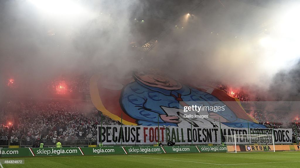 Stands with fans who are protesting against the decision of UEFA during the UEFA Europa League qualifying play off round second leg match between...