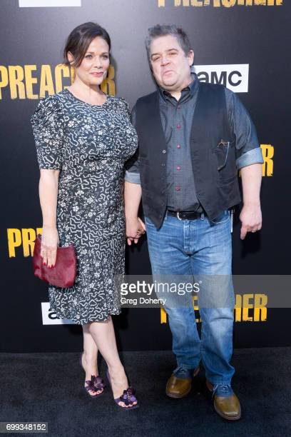 Standup Comedian Patton Oswalt and girlfriend Meredith Salenger arrive for the Premiere Of AMC's 'Preacher' Season 2 at The Theatre at Ace Hotel on...