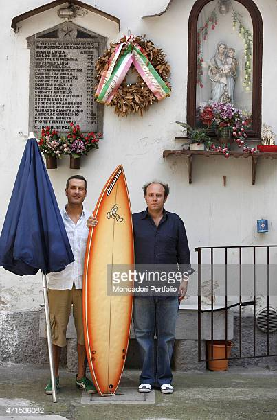 'Standup comedians Ale e Franz Alessandro Besentini and Francesco Villa respectively in the courtyard in Naviglio Martesana via Monza next to the...