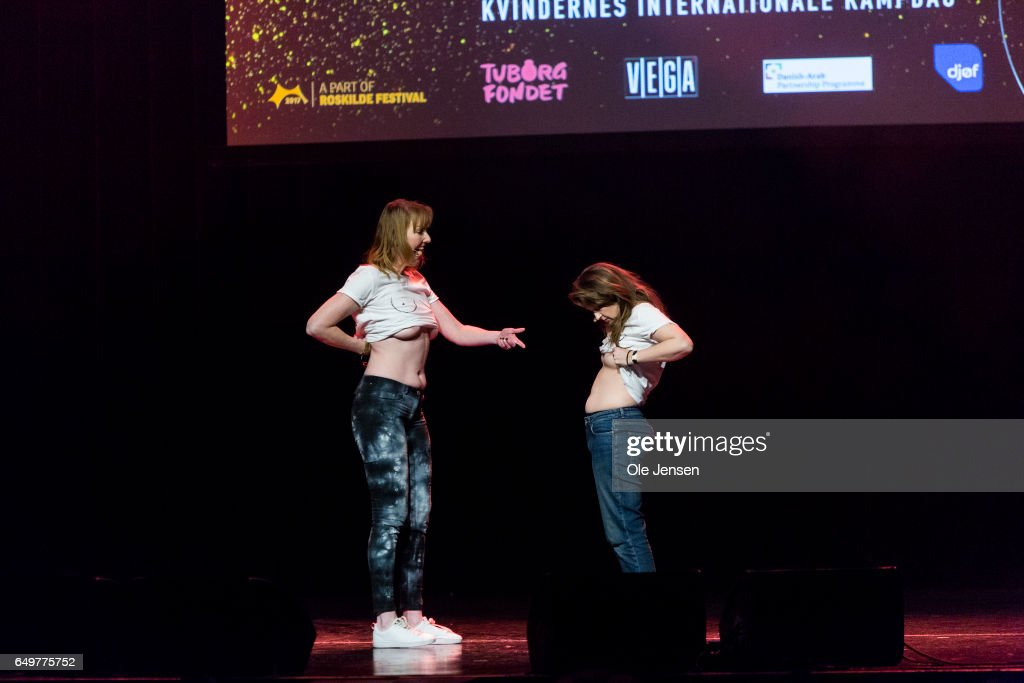 Stand-up comedians Ditte & Louise perform on stage at The International Women's Day celebration at Vega on March 8, 2017 in Copenhagen, Denmark.