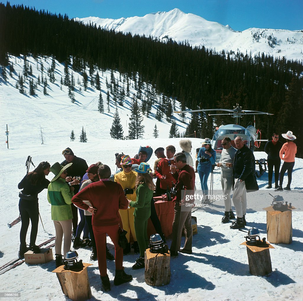A standup fondue picnic for skiers at SnowmassatAspen Colorado which has more than fifty miles of trails and snowfields The village was opened in...