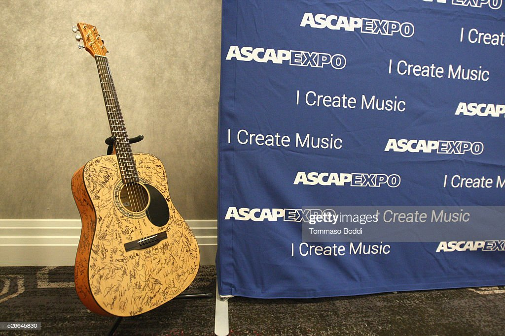 A #StandWithSongwriters guitar, which will be presented in May to members of Congress to urge them to support reform of outdated music licensing laws, is displayed during the 2016 ASCAP 'I Create Music' EXPO on April 30, 2016 in Los Angeles, California.