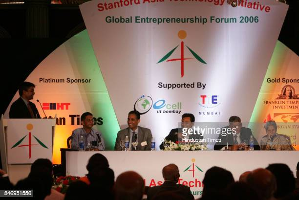 Stanford Asia Technology Initiative's Global Entrepreneurship Forum S Narayan Sanjay Reddy Hital Meswani K Venkataraman Anu Aga in Mumbai on Thursday