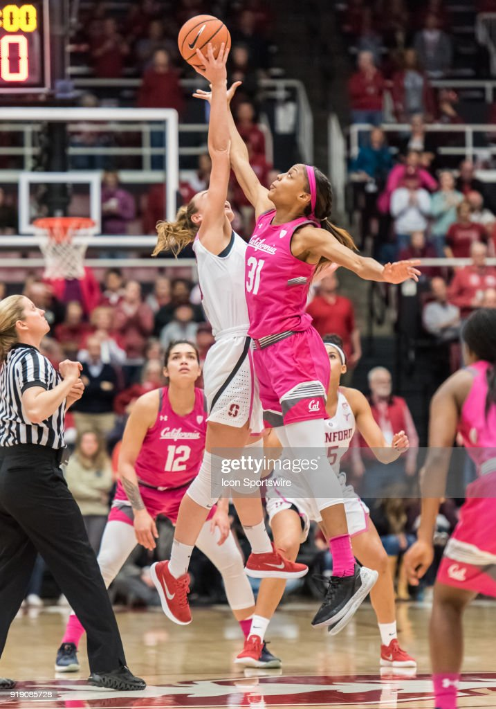 Stanford Cardinal forward Alanna Smith (11) gets the tip off against California Golden Bears forward/center Kristine Anigwe (31) at the beginning of the game between the California Golden Bears and the Stanford Cardinals on Thursday, February 15, 2018 at Maples Pavilion, Stanford, CA.