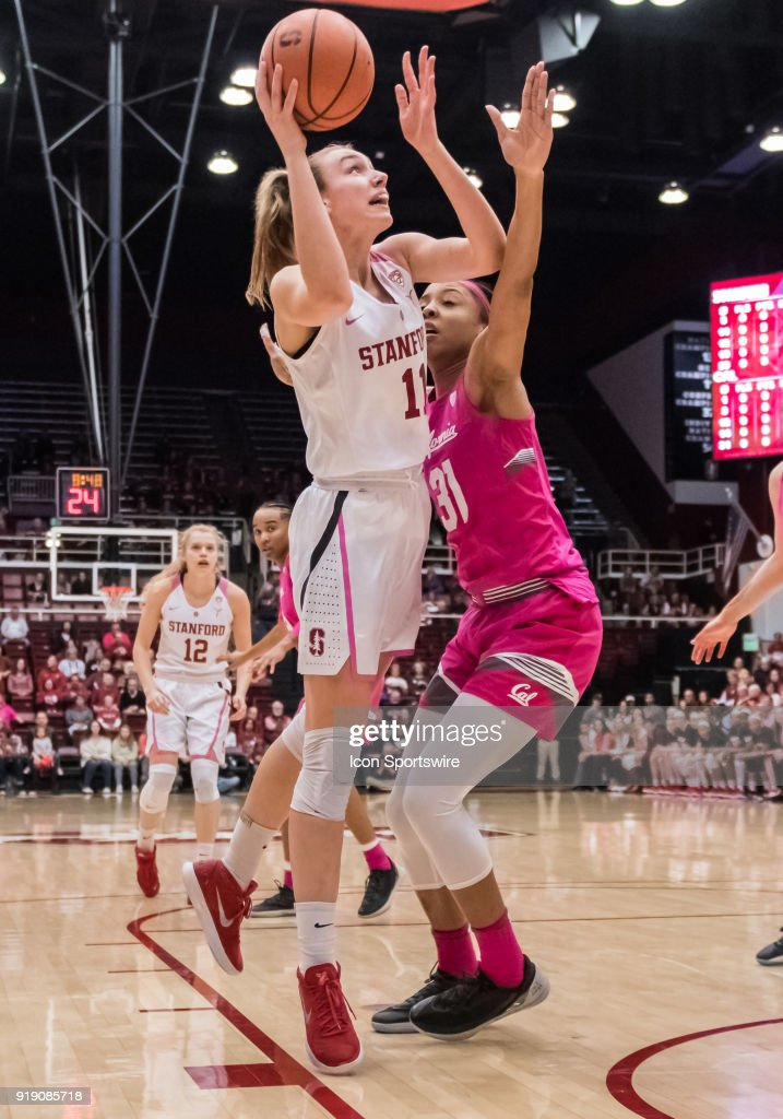 Stanford Cardinal forward Alanna Smith (11) goes up for the basket during a lay up against California Golden Bears forward/center Kristine Anigwe (31) during the game between the California Golden Bears and the Stanford Cardinals on Thursday, February 15, 2018 at Maples Pavilion, Stanford, CA.