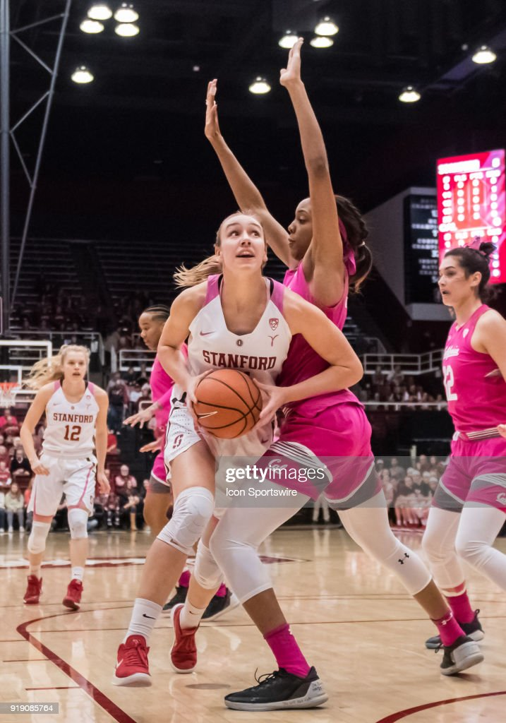 Stanford Cardinal forward Alanna Smith (11) moves toward the basket against California Golden Bears forward/center Kristine Anigwe (31) during the game between the California Golden Bears and the Stanford Cardinals on Thursday, February 15, 2018 at Maples Pavilion, Stanford, CA.