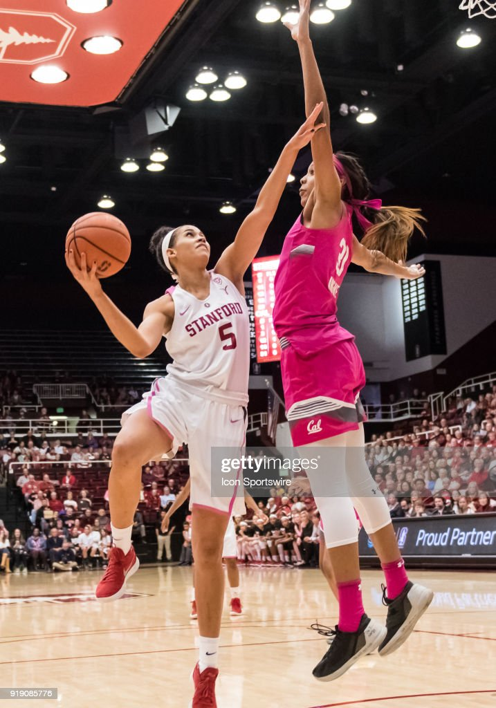 Stanford Cardinal forward Kaylee Johnson (5) goes up for a lay up against California Golden Bears forward/center Kristine Anigwe (31) during the game between the California Golden Bears and the Stanford Cardinals on Thursday, February 15, 2018 at Maples Pavilion, Stanford, CA.