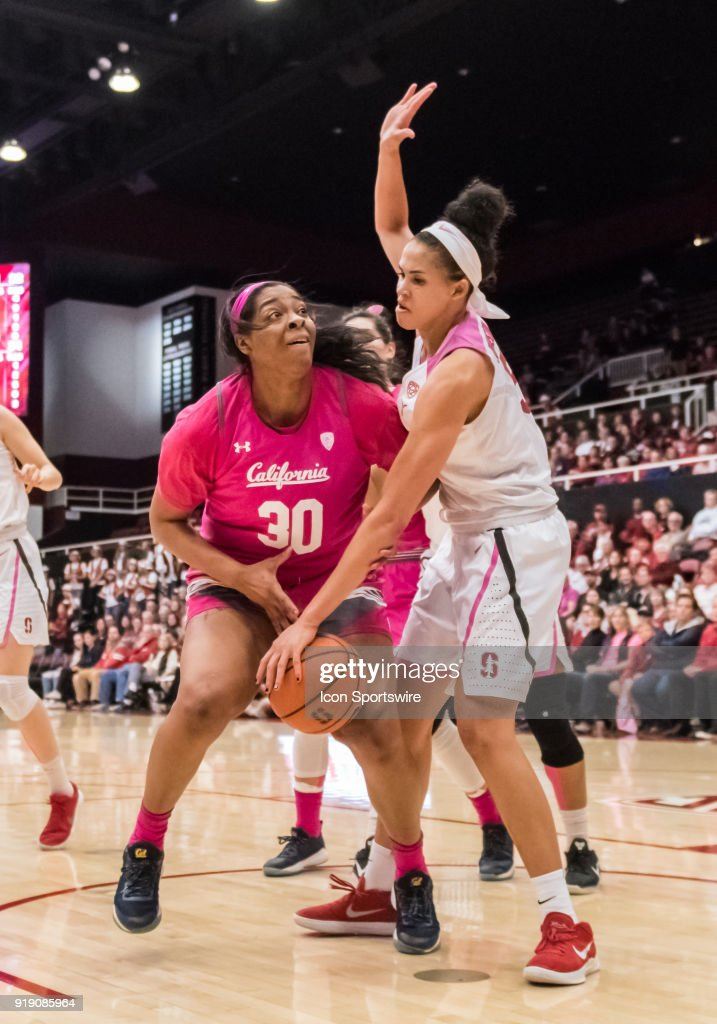 Stanford Cardinal forward Kaylee Johnson (5) knocks the ball loose from California Golden Bears center CJ West (30) during the game between the California Golden Bears and the Stanford Cardinals on Thursday, February 15, 2018 at Maples Pavilion, Stanford, CA.