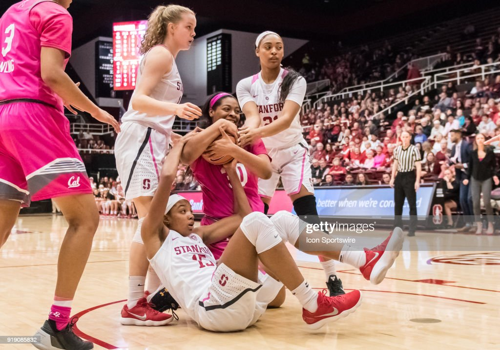 Stanford Cardinal forward Maya Dodson (15) gets called for a foul while California Golden Bears center CJ West (30) grabs the rebound during the game between the California Golden Bears and the Stanford Cardinals on Thursday, February 15, 2018 at Maples Pavilion, Stanford, CA.