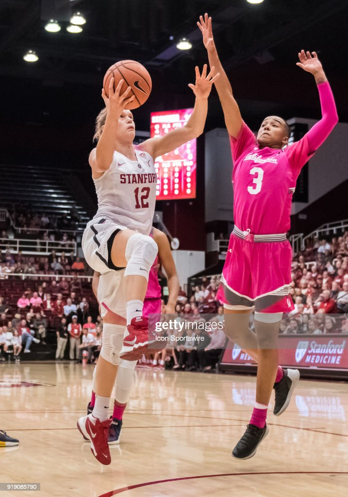Stanford Cardinal guard Brittany McPhee (12) gets past California Golden Bears guard/forward Mikayla Cowling (3) for the shot during the game between the California Golden Bears and the Stanford Cardinals on Thursday, February 15, 2018 at Maples Pavilion, Stanford, CA.