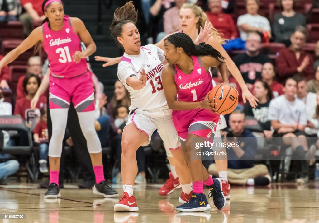 Stanford Cardinal guard Marta Sniezek (13) puts up a block on California Golden Bears guard Asha Thomas (1) during the game between the California Golden Bears and the Stanford Cardinals on Thursday, February 15, 2018 at Maples Pavilion, Stanford, CA.
