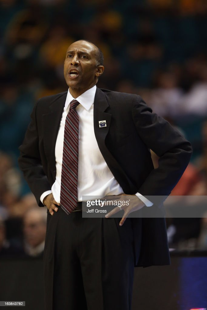 Stanford Cardinal head coach Johnny Dawkins directs his team against the Arizona State Sun Devils during the first round of the Pac 12 Tournament at the MGM Grand Garden Arena on March 13, 2013 in Las Vegas, Nevada.