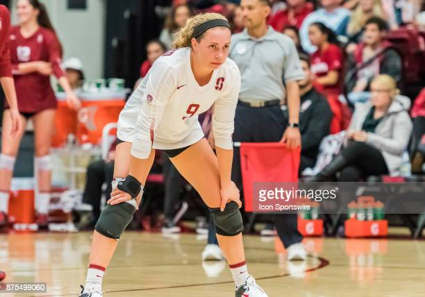 Stanford libero Morgan Hentz gets ready for a serve during the regular match between the UCLA Bruins and the Stanford Cardinals on Thursday November...