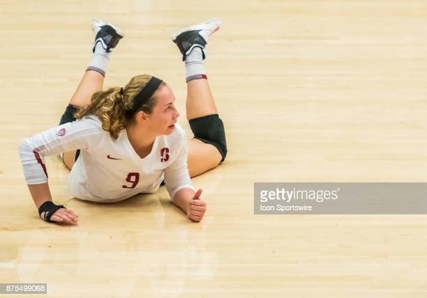 Stanford libero Morgan Hentz watches the ball fly up after a successful dig during the regular match between the UCLA Bruins and the Stanford...