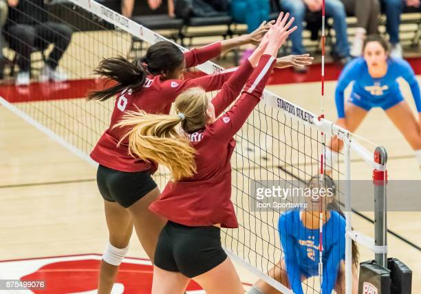 Stanford middle blocker Tami Alade and Stanford middle blocker Audriana Fitzmorris get a block over the net during the regular match between the UCLA...