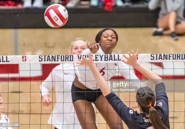 Stanford middle blocker Tami Alade puts some steam on a hit for a score during the regular season game between the Oregon State Beavers verses the...