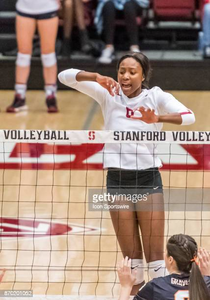 Stanford middle blocker Tami Alade watches her hit pass through Oregon State defense during the regular season game between the Oregon State Beavers...
