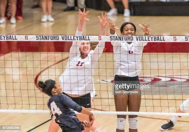Stanford opposite Merete Lutz and Stanford middle blocker Tami Alade miss the block from a hit by Oregon State middle blocker Serena Bruin during the...