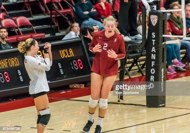 Stanford outside hitter Kathryn Plummer and Stanford libero Morgan Hentz react after an inbounds call is made during the regular match between the...