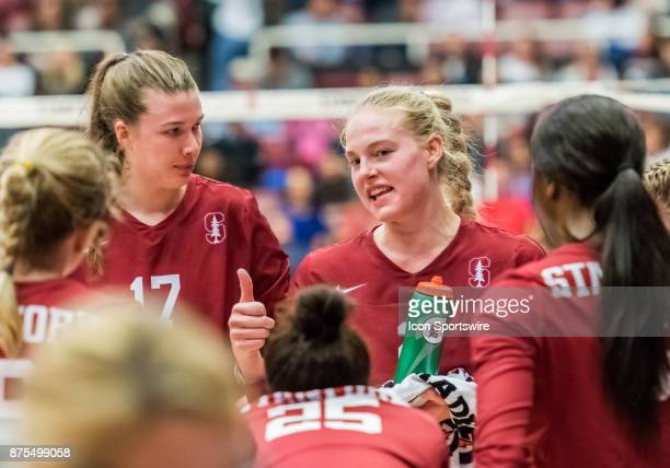 Stanford outside hitter Kathryn Plummer gives the team some confidence during a break in the third set during the regular match between the UCLA...