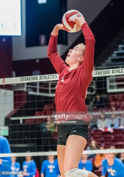 Stanford outside hitter Kathryn Plummer goes up to set the ball during the regular match between the UCLA Bruins and the Stanford Cardinals on...