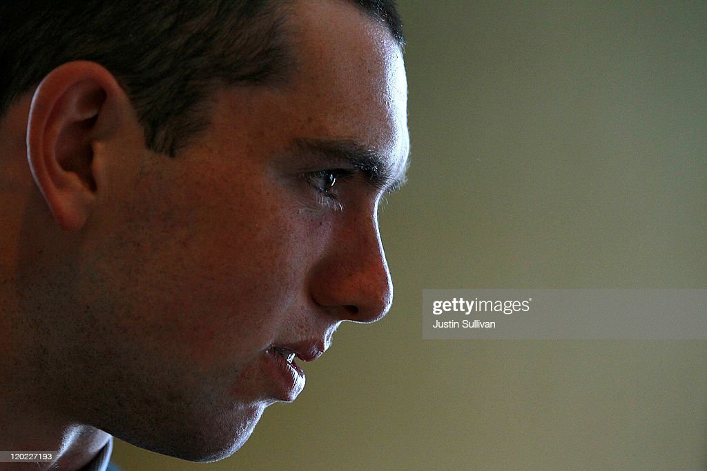 Stanford quarterback Andrew Luck looks on as he speaks to reporters during the Bay Area college football media day at the Hotel Nikko on August 1, 2011 in San Francisco, California. Players and coaches from Stanford, Cal and San Jose State football programs met with reporters ahead of the new season during Bay Area college football media day.