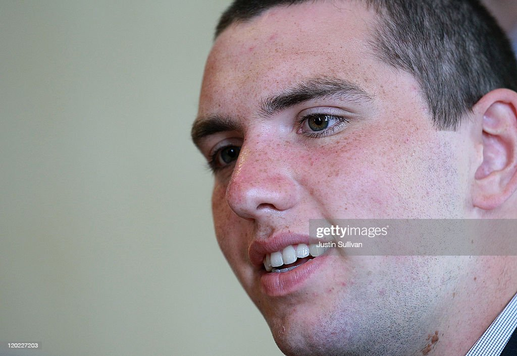 Stanford quarterback Andrew Luck smiles as he speaks to reporters during the Bay Area college football media day at the Hotel Nikko on August 1, 2011 in San Francisco, California. Players and coaches from Stanford, Cal and San Jose State football programs met with reporters ahead of the new season during Bay Area college football media day.