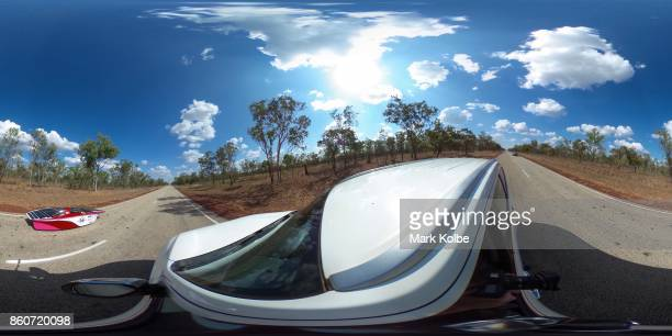 Stanford Solar Car Project vehicle 'Sundae' from the United States of America races in the Challenger Class outside of Katherine as it competes on...
