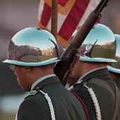Stanford Stadium reflected in the helmets of color guard personnel during the national anthem prior to the Stanford vs San Jose State game Stanford...
