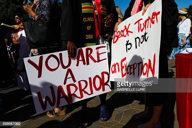 Stanford students carried signs in solidarity for a Stanford rape victim during graduation ceremonies at Stanford University in Palo Alto California...