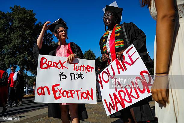 Stanford students Miriam Natvig and Jemima Oslo carried signs in solidarity for a Stanford rape victim during graduation ceremonies at Stanford...