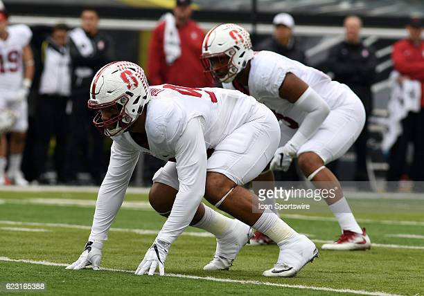 Stanford University DE Solomon Thomas readies to rush the passer during a PAC12 NCAA football game between the Oregon Ducks and the Stanford Cardinal...