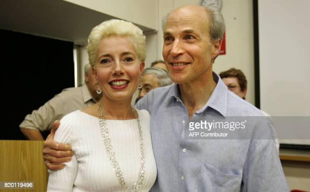 Stanford University professor Roger Kornberg the winner of the 2006 Nobel chemistry prize hugs his wife and collaborator Yahli Lorch PhD associate...