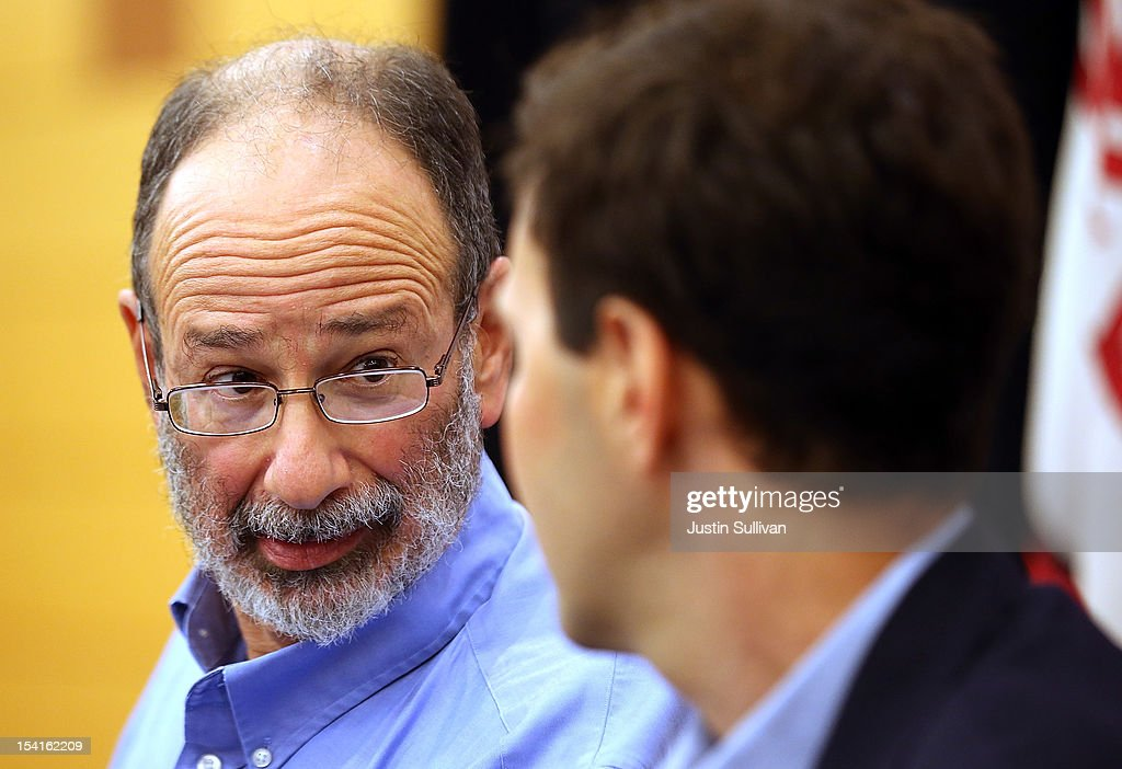 Stanford visiting professor Alvin Roth looks on during a press conference announcing his Nobel Prize in economics on October 15, 2012 in Stanford, California. Americans Alvin Roth and Lloyd Shapley were awarded the prize for their work on market design and matching theory.