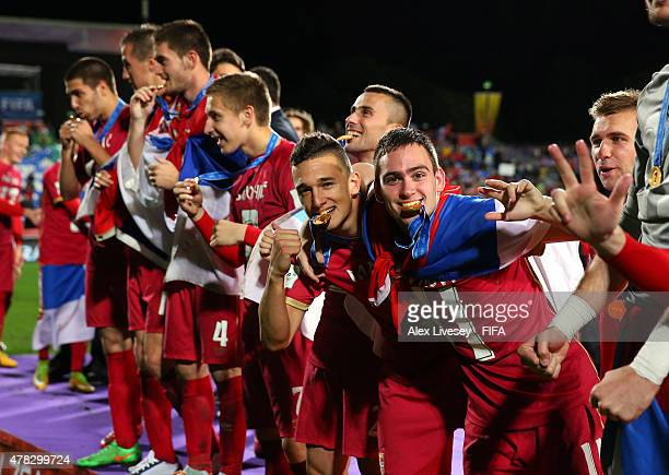 Stanisa Mandic and Andrija Zivkovic of Serbia celebrate after the FIFA U20 World Cup Final match between Brazil and Serbia at North Harbour Stadium...