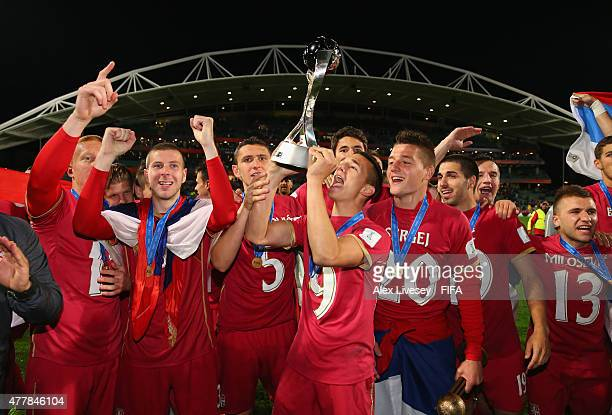 Stanisa Mandic of Serbia lifts the FIFA U20 World Cup after victory over Brazil in the FIFA U20 World Cup Final match between Brazil and Serbia at...